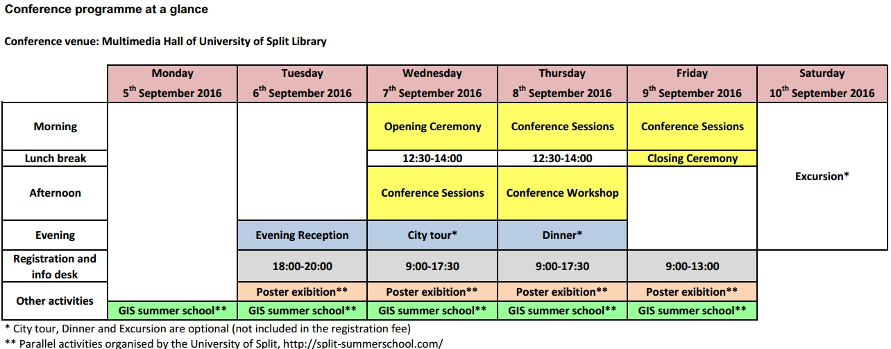 Conference programme at a glance